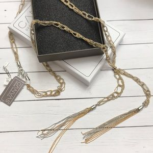 Silver and gold braided necklace new in box